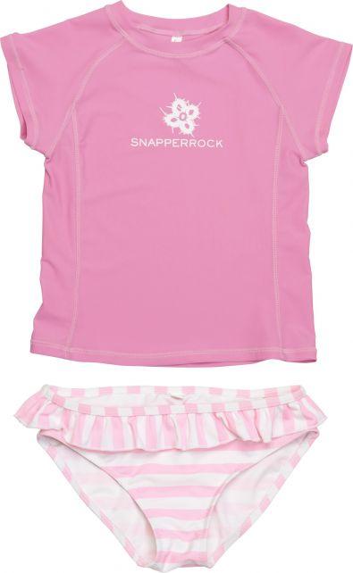 Snapper-Rock---UV-Swim-Set-Kids-Cap-Sleeve--Pink/White-Stripe