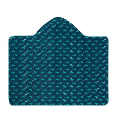 Lässig---Hooded-towel-for-children---Blue-Whale---Blue-/-White