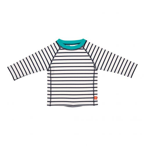 Lässig---UV-swim-shirt-for-children---Striped---White-/-Dark-Blue