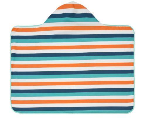 Lässig---Hooded-towel-for-children---Striped---White-/-Blue-/-Peach