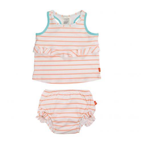 Lässig---Tankini-for-girls-Striped---White-/-Peach-/-Blue