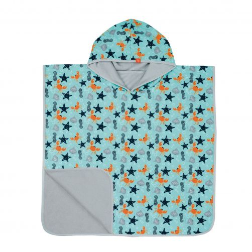 Lässig---Baby-towel-with-hood-for-children---Star-Fish---Light-blue