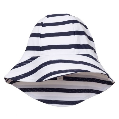 Petit-Crabe---UV-Sun-hat-for-children---Striped---White/Navy