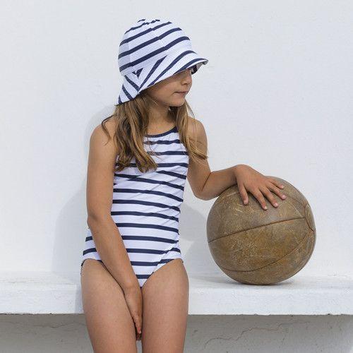 Petit-Crabe---UV-Bathing-suit---Striped---White/Navy
