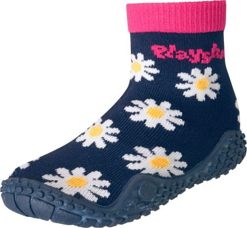 Playshoes---Swim-socks-for-girls---Oxeye-daisy---Navy-blue-/-pink