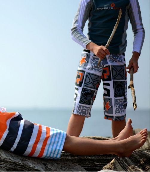 Snapper-Rock---UV-Shirt-Kids-Long-Sleeve--Grey/White-Stitch