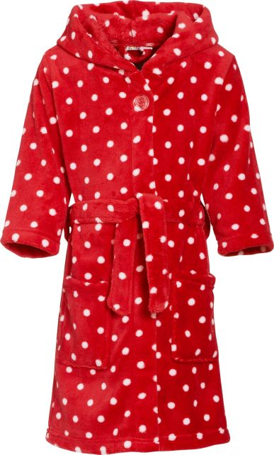 Playshoes---Fleece-Bathrobe-with-hoodie---Stippen-Red