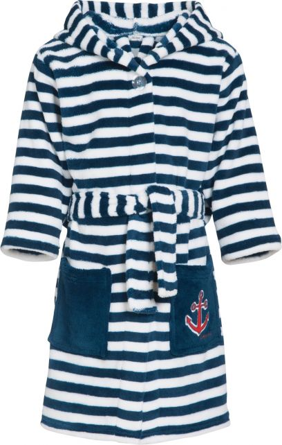 Playshoes---Fleece-dressing-gown-for-children---Maritime---Navy/white