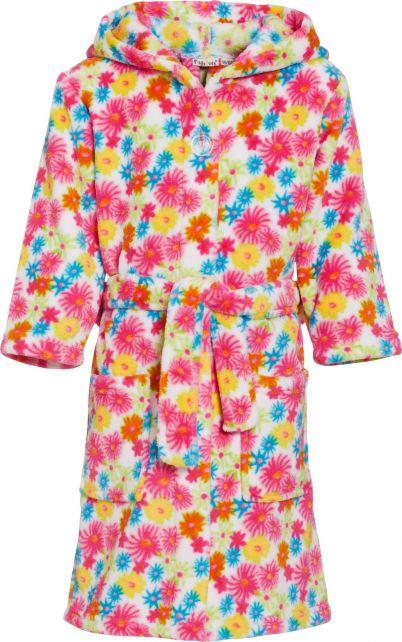Playshoes---Fleece-Bathrobe-with-hoodie---Flowers-Yellow