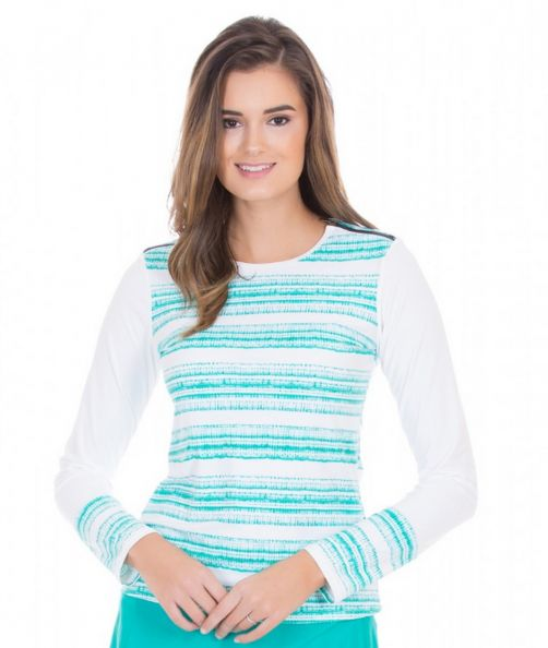 Cabana-Life---UV-resistant-Rashguard-with-zipper-for-ladies---Turquoise/White