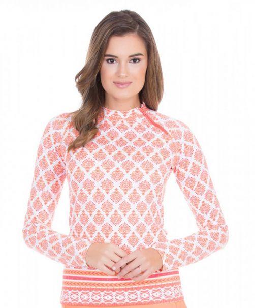 Cabana-Life---UV-resistant-zipper-Rashguard-for-ladies---Orange/White