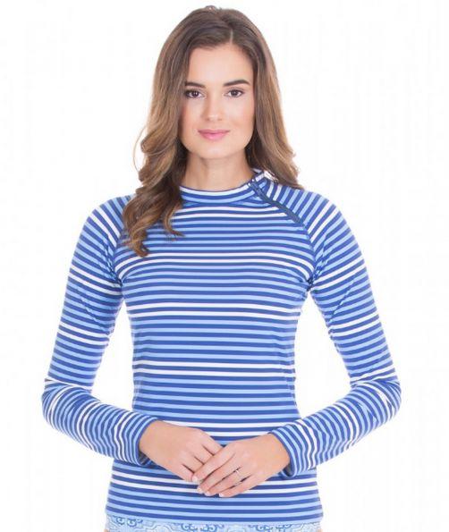 Cabana-Life---UV-resistant-zipper-Rashguard-for-ladies---Blue/White