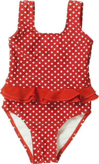 Playshoes---UV-bathing-suit-for-girls---Double-ruches---Dots---Red