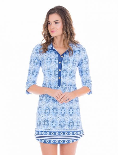 Cabana-Life---UV-resistant-Camper-dress-for-ladies---Blue/White