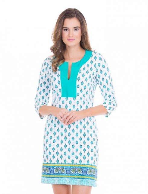 Cabana-Life---UV-resistant-tunic-dress-for-ladies---Green/White