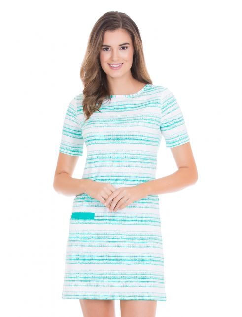 Cabana-Life---UV-resistant-dress-with-short-sleeves-for-ladies---Turquoise/White
