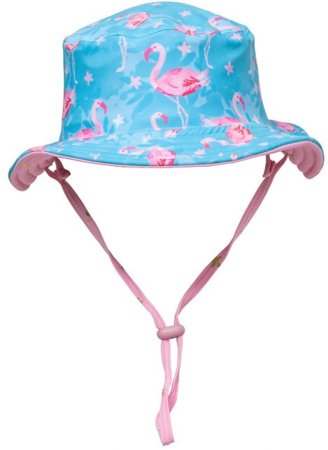 Snapper-Rock---UV-Bucket-Hat-for-kids---Reversible---Flamingo-Star---Blue/Pink