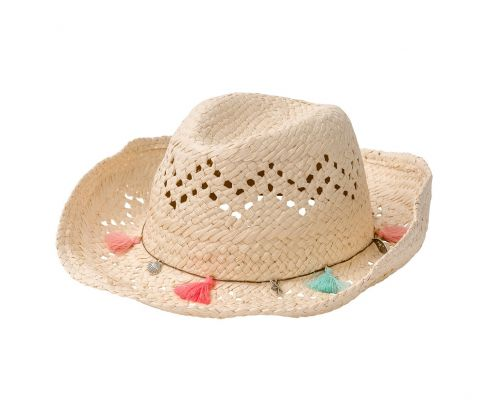 Snapper-Rock---Straw-hat-Cowgirl---Pink-/-Coral-/-Aqua-blue-fringes