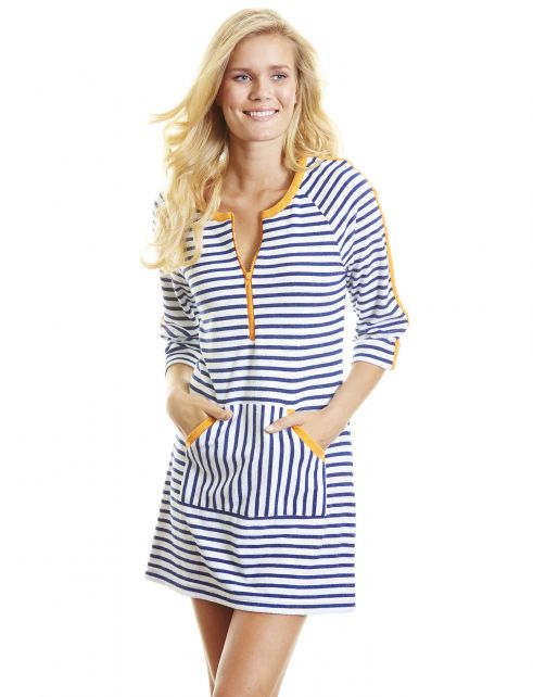 Cabana-Life---UPF-50+-Blue-with-orange-Drive---Terry-Dress