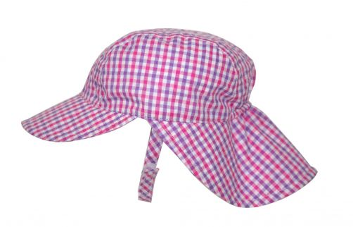 Rigon---UV-sun-cap-for-babies-with-neck-flap---Pink-gingham