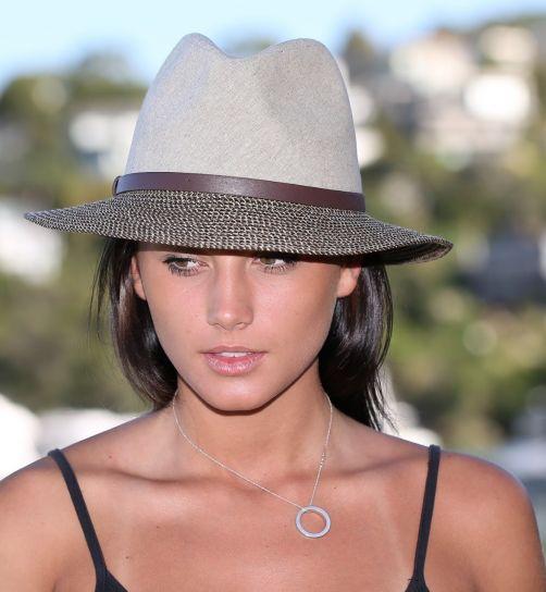 Rigon---UV-fedora-hat---Unisex---Stone-grey-/-brown