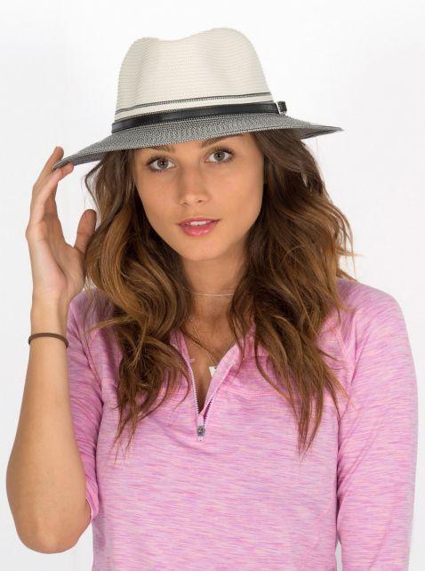 Rigon---UV-Fedora-hat-for-women---Ivory/Black
