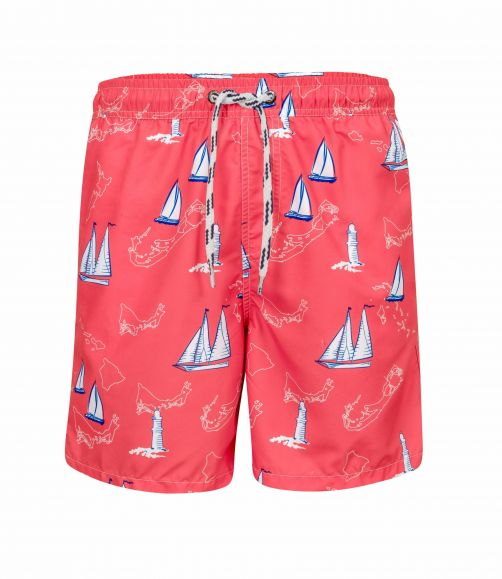 Snapper-Rock---Men's-swimming-trunks-Island-Sail---Red