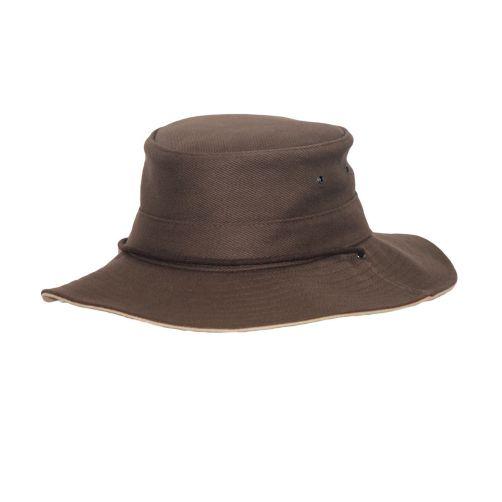 Rigon---UV-boonie-hat-for-men---Chocolate-brown-/-beige