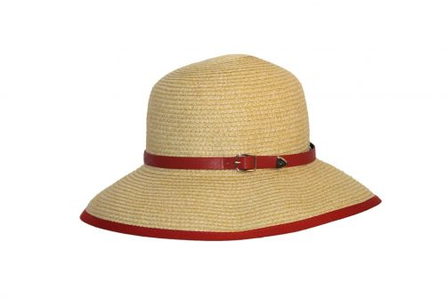 Rigon---UV-Straw-hat-for-women---Natural-/-masala-red