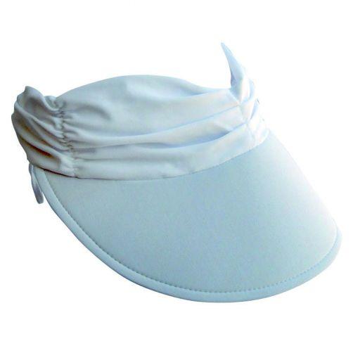Rigon---Visor-for-women-with-pleated-fabric---Calypso--White