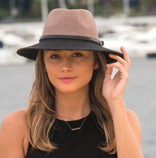 Rigon---UV-sun-hat-for-women-with-belt-trim---Black-/-mocha