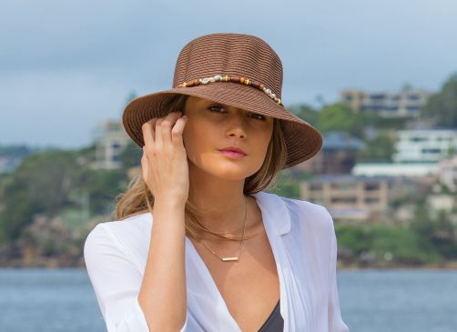Rigon---UV-bucket-hat-for-women-with-beads---Pinecone-brown
