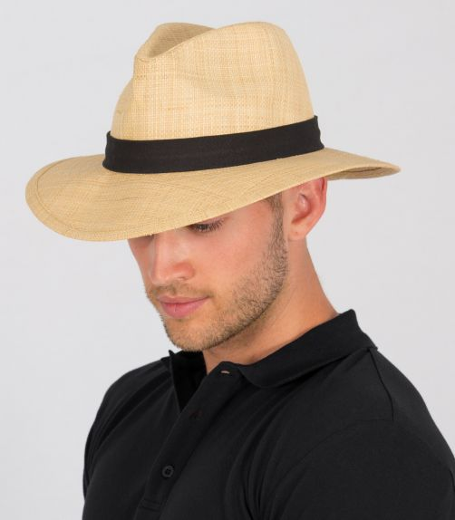 Rigon---UV-Straw-hat-for-men---Raffia---Natural-/-black