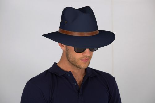 Rigon---UV-fedora-hat-for-men---Canvas---Navy-blue